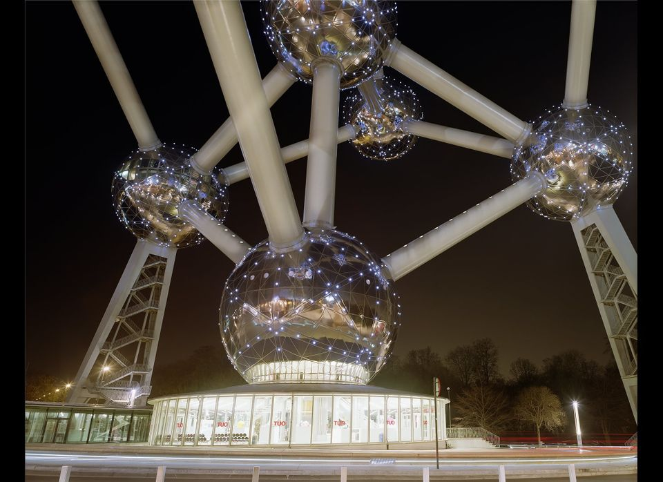 Designed by André Waterkeyn, the Atomium represents an iron cell magnified 165 billion times. The spheres are large enough to