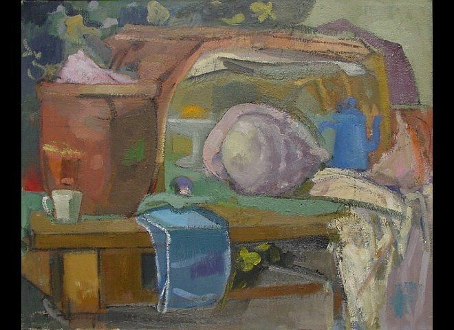 <em>Ruth Miller, Pot, Shell, Blue Coffee Pot, 2010-2011, oil on linen, 24 x 30 inches (courtesy Lohin Geduld Gallery)</em><br