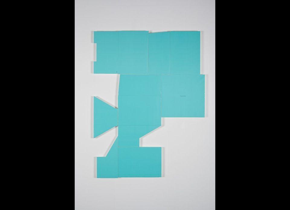 "Michael St. John, ""Untitled (tiffany box)"", Collage, acrylic on wood     34"" x 48"", 2011"