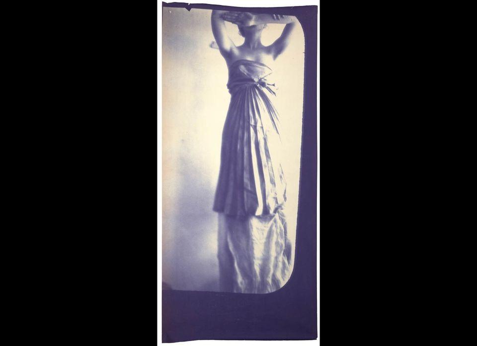 Francesca Woodman, <em>Caryatid</em>, New York, 1980; diazotype; 89 1/2 x 36 1/4 in. (227.3 x 92.1 cm); courtesy George and B