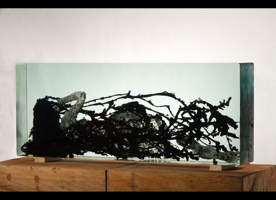 Dustin Yellin <em>Venus in Furs</em>, 2011 Glass, collage, ink 28 x 71.625 x 11 inches