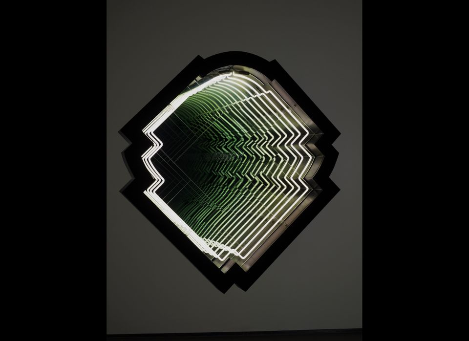 Sway (Grand Gateway), 2011, neon, wood, paint, Plexiglass, mirror, one-way mirror and electric energy 53 x 50 x 6 1/2 inch