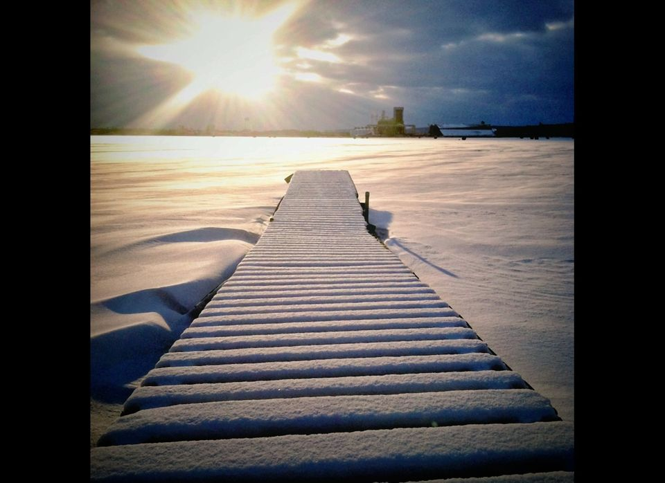 Dock reflecting the sun. Like this snow, I am here to reflect the beauty, love and light that the sun has brought.