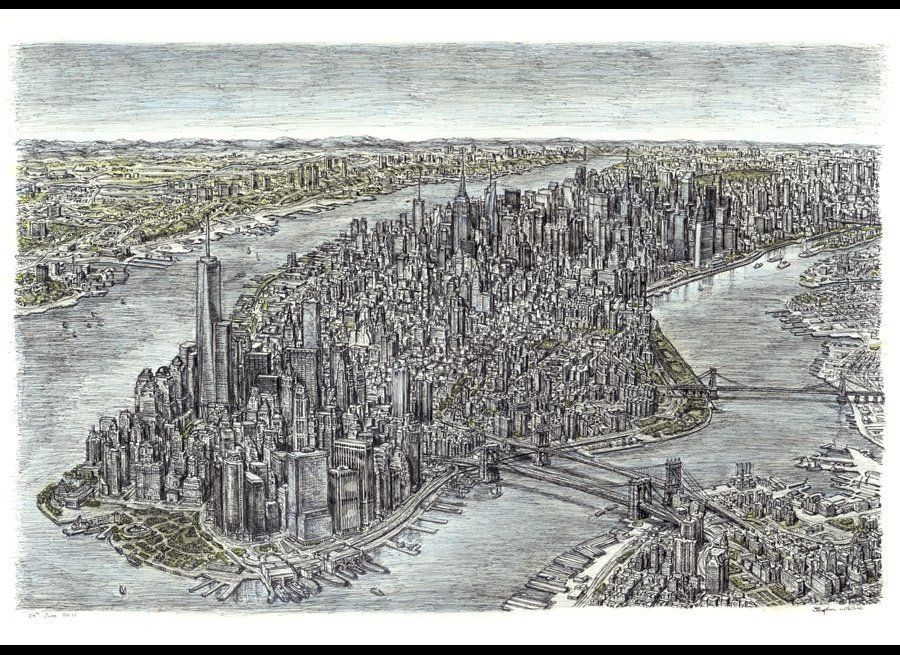 """Aerial view of Manhattan Skyline"", pen and pastel, 2011, Courtesy of The Stephen Wiltshire Gallery"