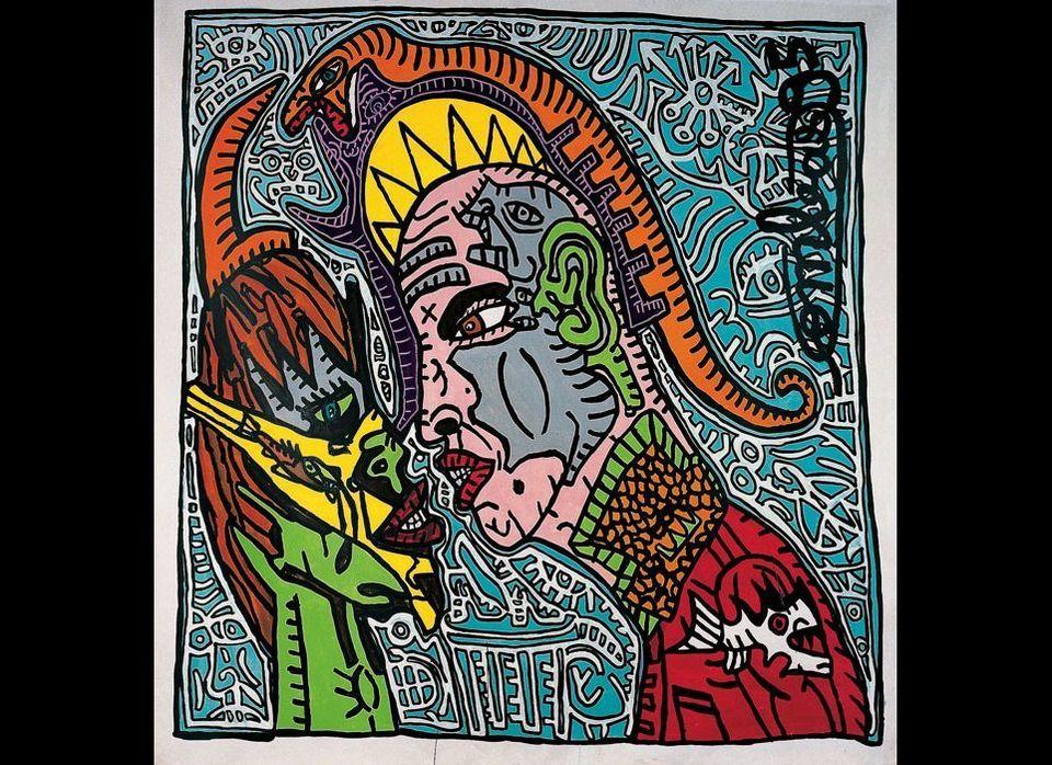 Robert COMBAS, Couple psychopatex, 1995  Dental mask, phallus tip, vagina snake, opera soldier-saint. Keen eye, ready to bit