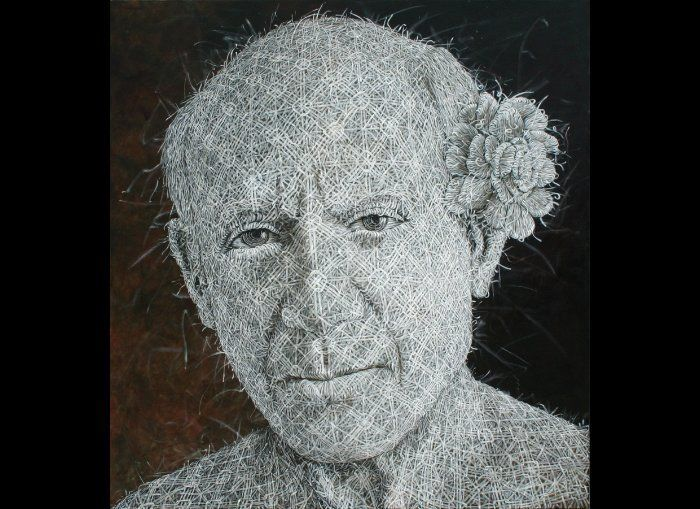 """Alexi Torres, """"Pablo Picasso"""", Oil on Cancas, 84 x 78 Inches, 2011."""