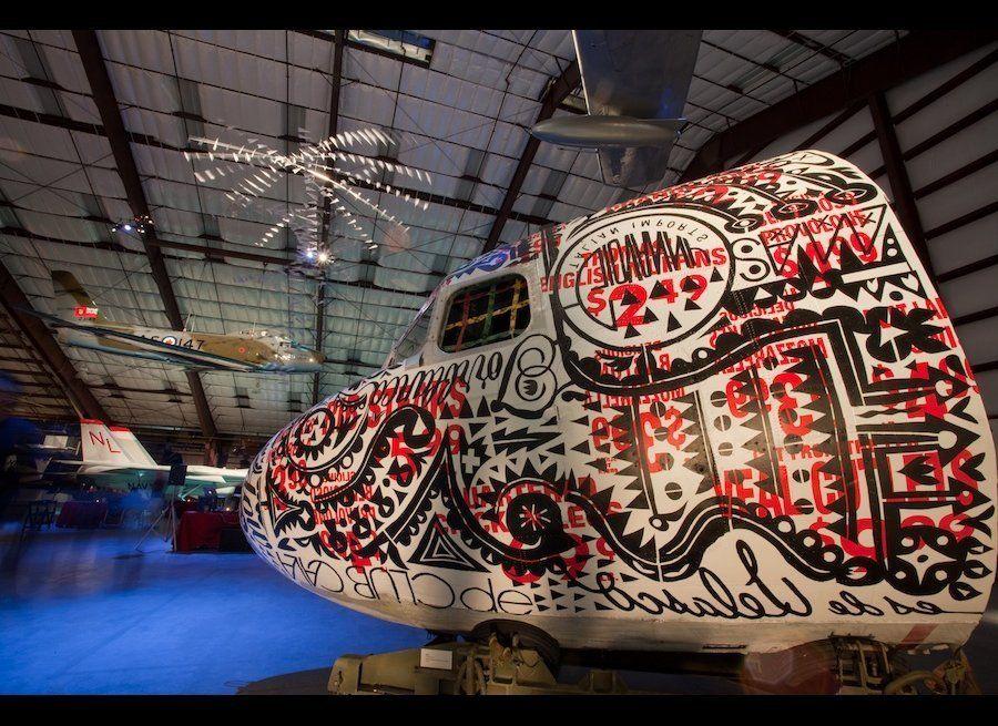 "BAST, Jerky Jermel, 2012, Acrylic & Spray paint on DC 3 cockpit, 108 x 96 x 96"""