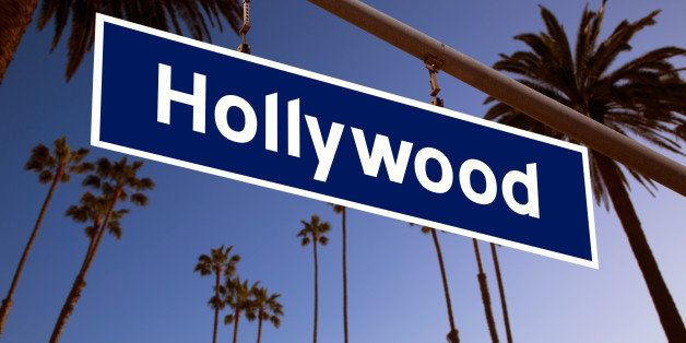 Hollywood redlight sign illustration over LA Palm trees background. Photomount