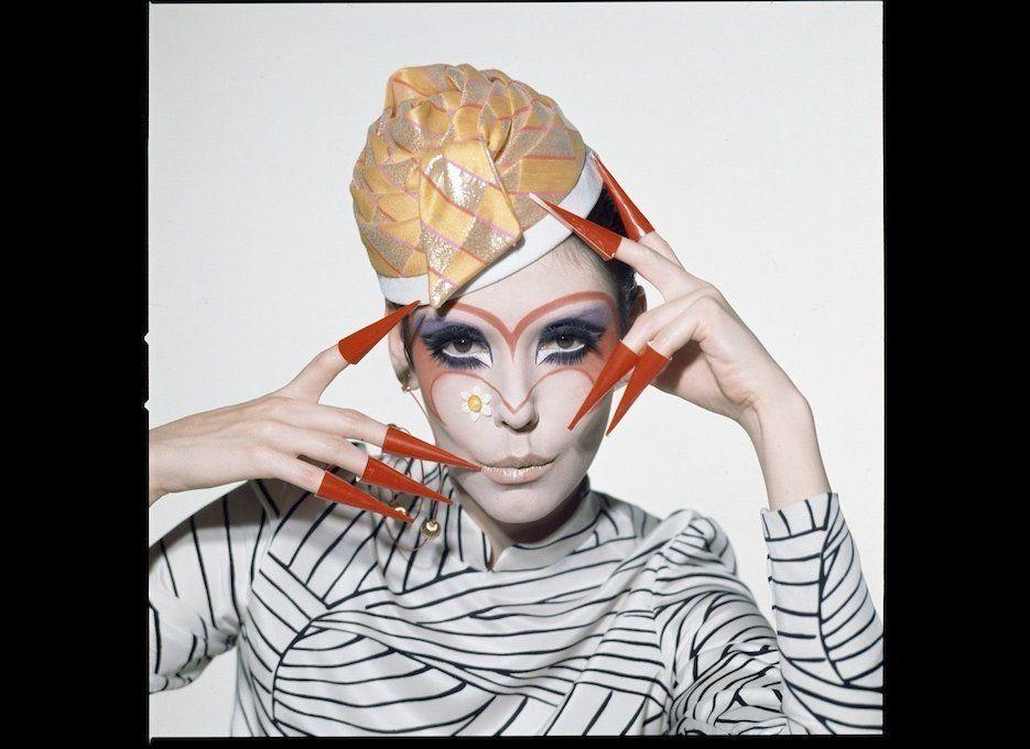 Peggy Moffitt modeling Rudi Gernreich design, 1968, photo by William Claxton