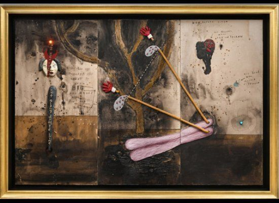 David Lynch, Bob's Second Dream, 2011, mixed media on cardboard, 72 x 108 inches. Courtesy Tilton Gallery, New York.  <a href