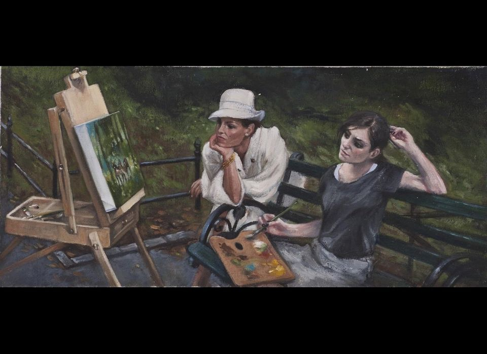 Delia Brown | <em>She Stops to Examine the Painting – and the Young Painter – More Closely</em>, oil on linen, 10 x 22 inches
