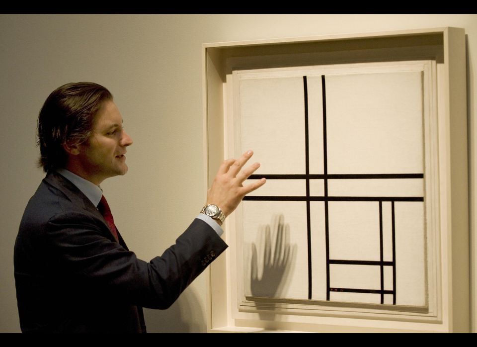 """Sotheby's Emmanuel DiDonna discusses Piet Mondrian's """"Composition in Black and White with Double Lines"""" during a media previe"""