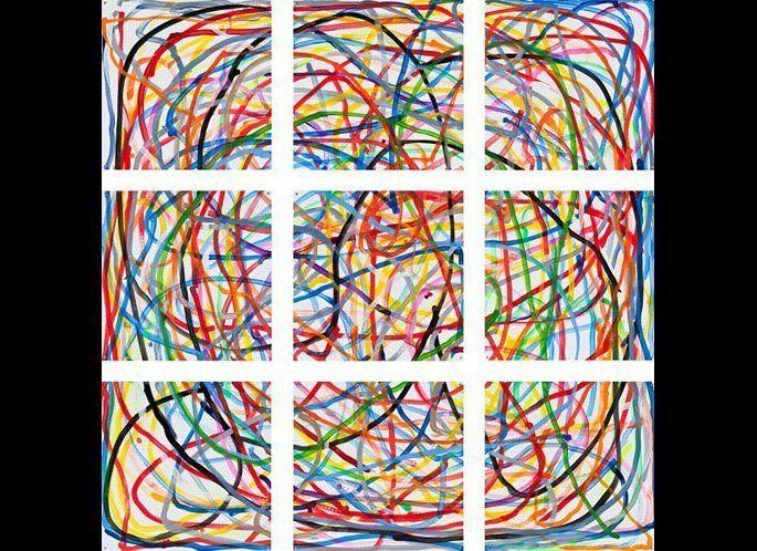 <strong>Jennifer Bartlett,<em> Multi-Colored Lines</em>, 2011</strong>, Enamel over silkscreen grid on baked enamel steel pla
