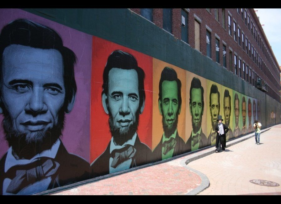 "Ron English ""Abraham Obama Mural"" paper wheatpaste on wall, Boston, MA July 2008"
