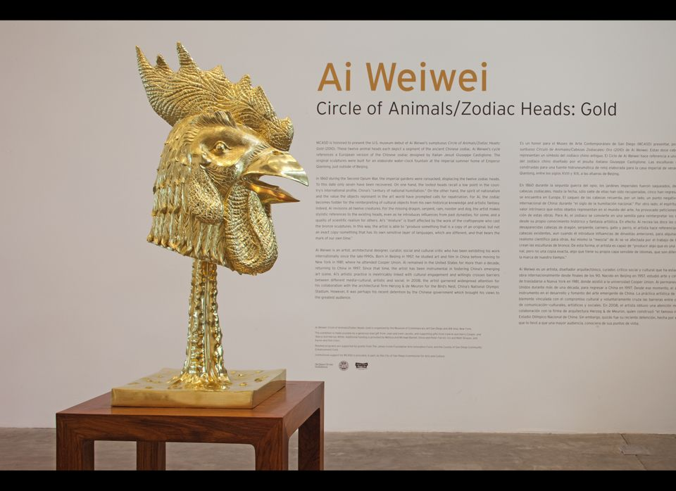 Ai Weiwei, Rooster from Zodiac Heads/Circle of Animals: Gold, 2010, gold-plated bronze. Courtesy of a Private Collection. Pho