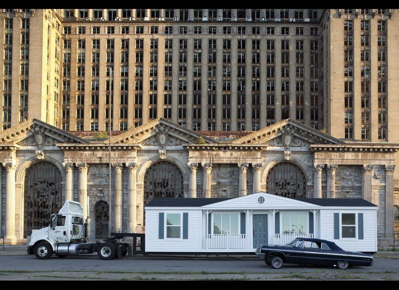 Mike Kelley (1954-2012). The Mobile Homestead in front of the abandoned Detroit Central Train Station, 2010. © Mike Kelley. P