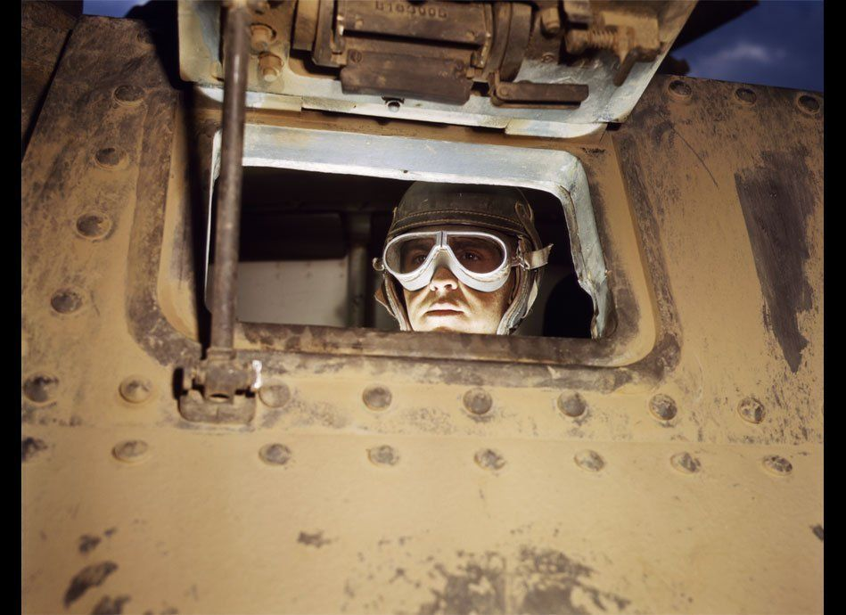 """Alfred T. Palmer, """"Tank driver, Ft. Knox, Ky."""" Photograph, 1942, Courtesy of Library of Congress, carriage trade."""
