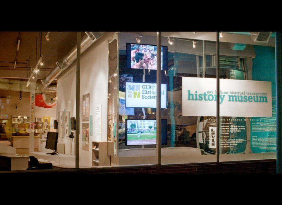 View through the front windows of The GLBT History Museum in San Francisco's Castro District. Photo: Daniel Nicoletta.