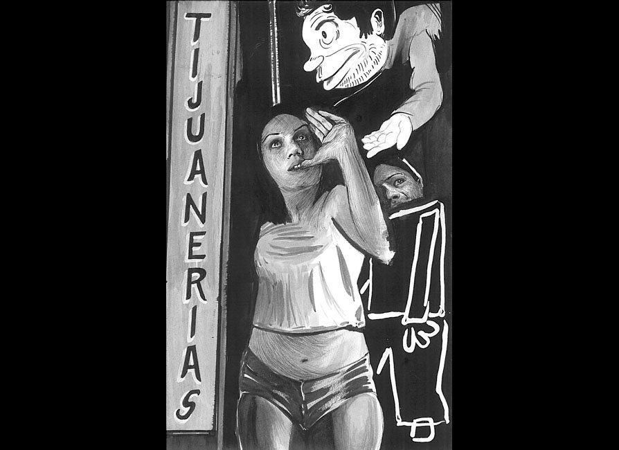 Hugo Crosthwaite, Tijuanerias #1, 2011, 8.5 x 5.5 in., ink, wash, graphite and white out on Canson paper, Courtesy of Luis De