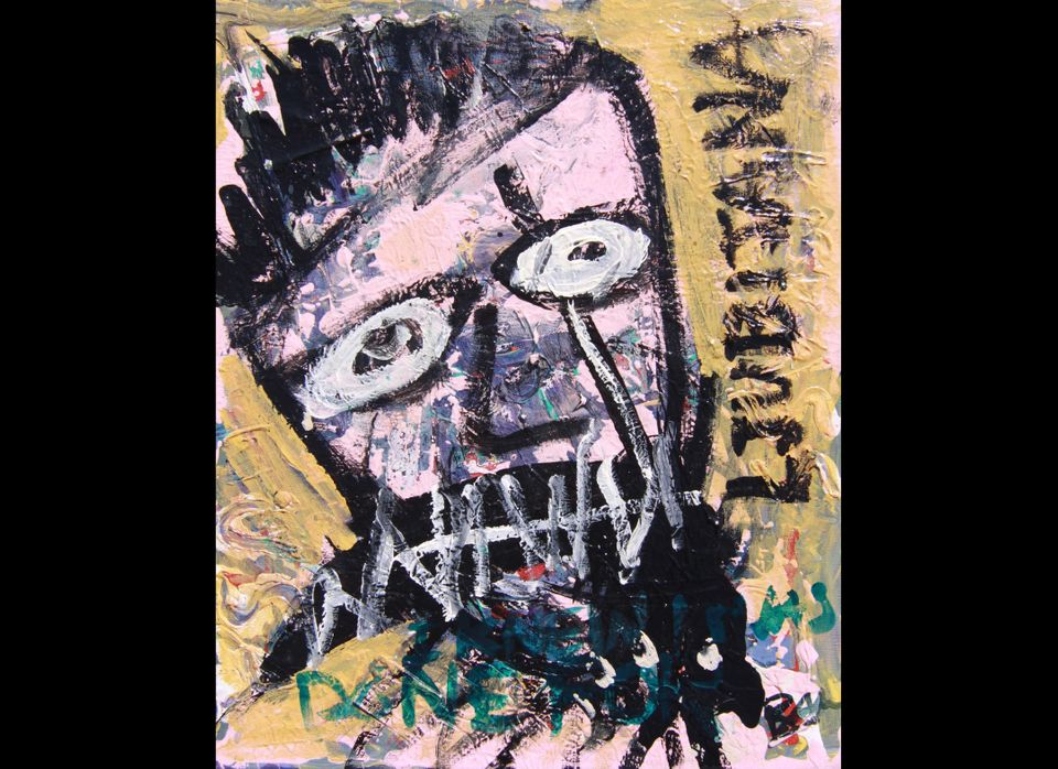 Bam Margera, Medium: Watercolor and Egg Whites on Canvas (Untitled) (Description: Man in Yellow 2011)