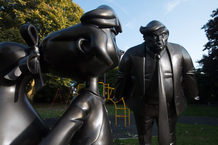 A statue of Roald Dahl's Matilda is unveiled in Great Missenden in Buckinghamshire, alongside one of President Donald Trump,
