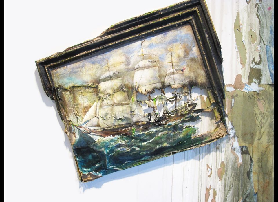 Hegarty, Sinking Ship (Large Clipper Ship) (lo res), 2012, canvas, stretcher bars, paper, glue, acrylic paint, gel mediums, 5