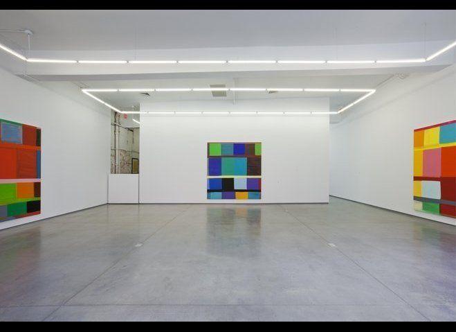 <em>Insideout</em> 2012, <em>This Side of Blue</em> 2012, <em>Left to Right</em> 2011. All works oil on linen, 96 x 96 inches