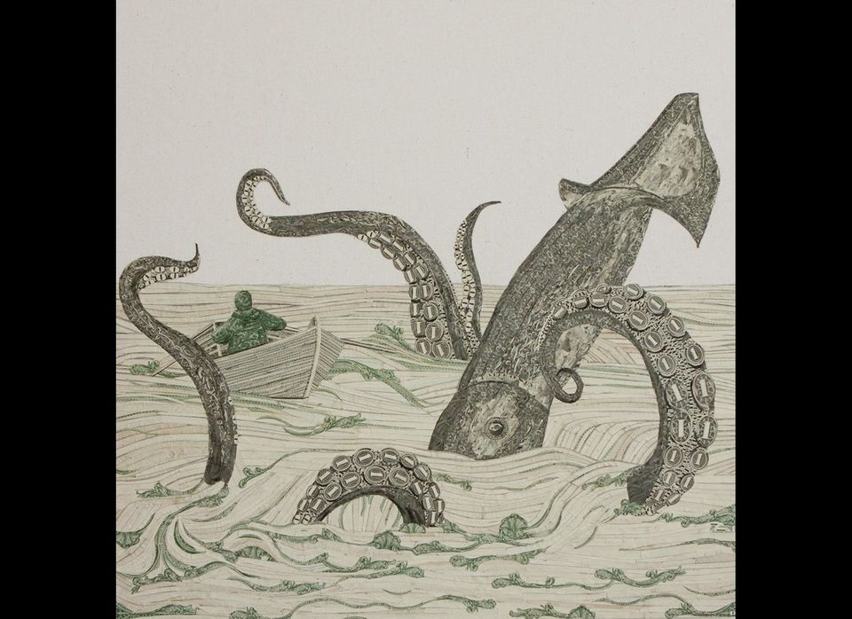 "Chad Person, ""Kraken"", US Currency on Canvas, 16"" x 16"", 2012, Courtesy of Mark Moore Gallery"
