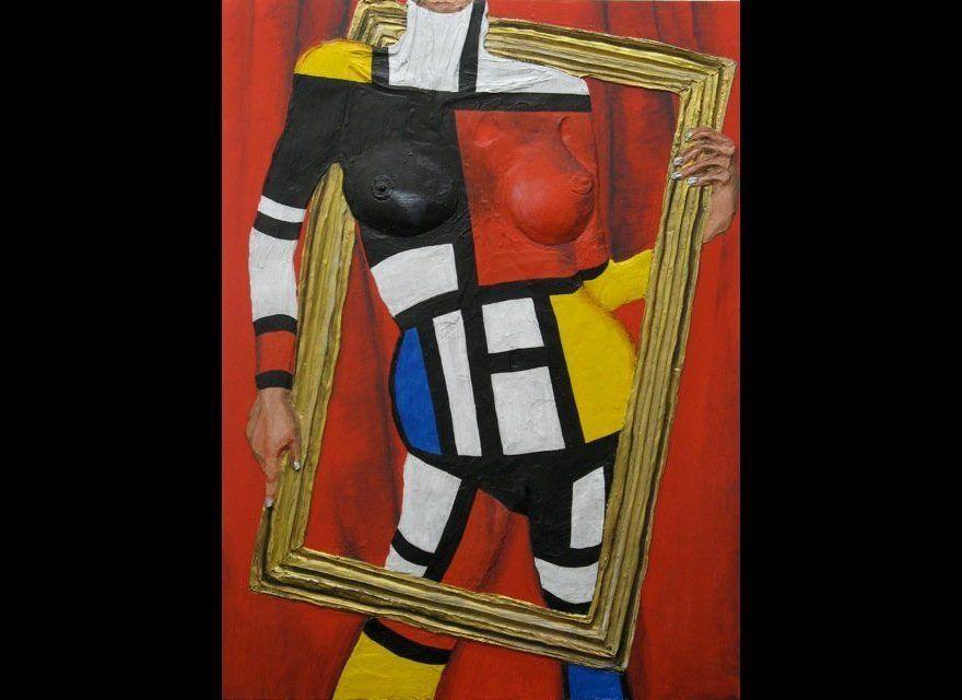 Gina Beavers Mondrian Acrylic on canvas 30 x 40 inches 2012