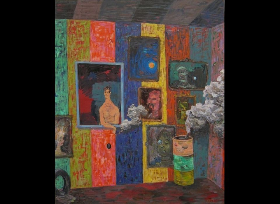 <em>Richard Hawkins, Salome Painting: Smoke Smoke, 2012, oil on canvas, 32 1/2 x 39 inches (courtesy Greene Naftali, New York