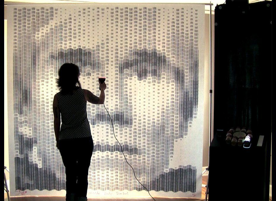 """Barcode Andy Warhol with Campbell's Soup Interface"", 96 x 96 inches, 2011, Digital mosaic made with 2,160 barcodes from Camp"