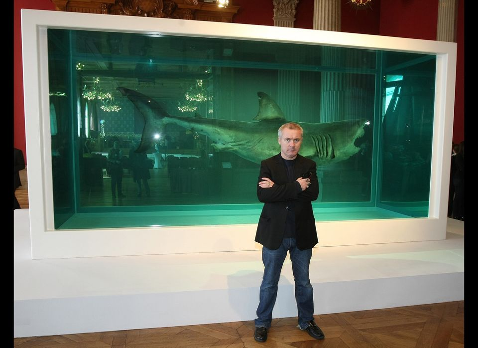 <em>Hirst in front of The Physical Impossibility of Death in the Mind of Someone Living</em>, 1991.