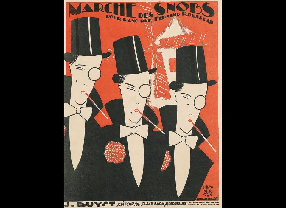 René Magritte, Marche des Snobs, sheet music cover, 1924. Estimate $1,000 to $1,500.