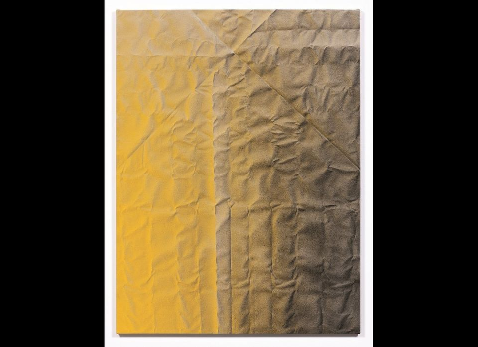 "Tauba Auerbach | Untitled (Fold), acrylic on canvas,  60 x 45 inches. Courtesy of <a href=""http://www.paulacoopergallery.com"""