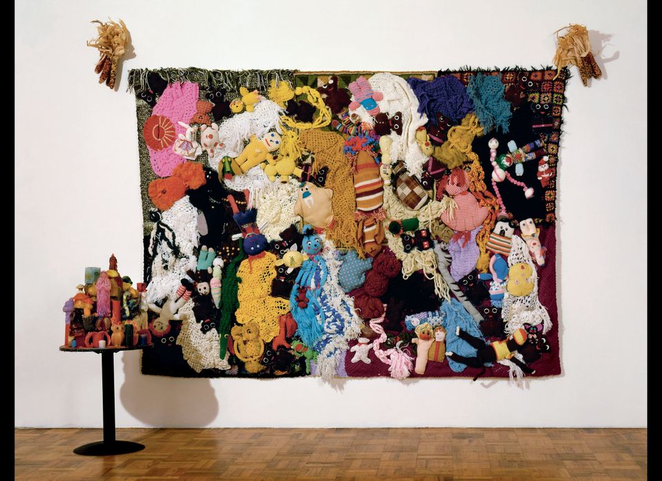 Mike Kelley, 1987, Handmade craft items and afghans sewn onto canvas.