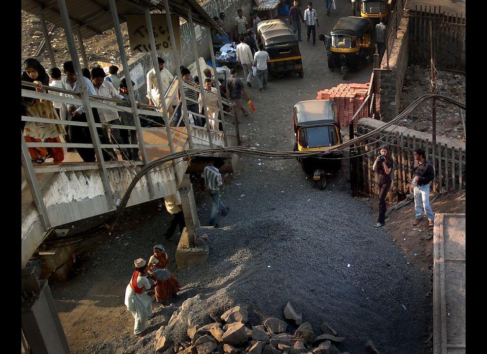 Indrani filming child laborers in Bandra. (Photo by Ashish Virola).
