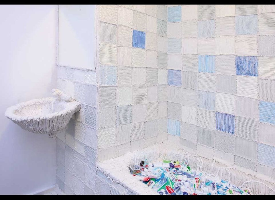 Smile Room: 2010, a smell installation made with 3400 tubes toothpaste, pu-components, creating an intense minty toothpaste s
