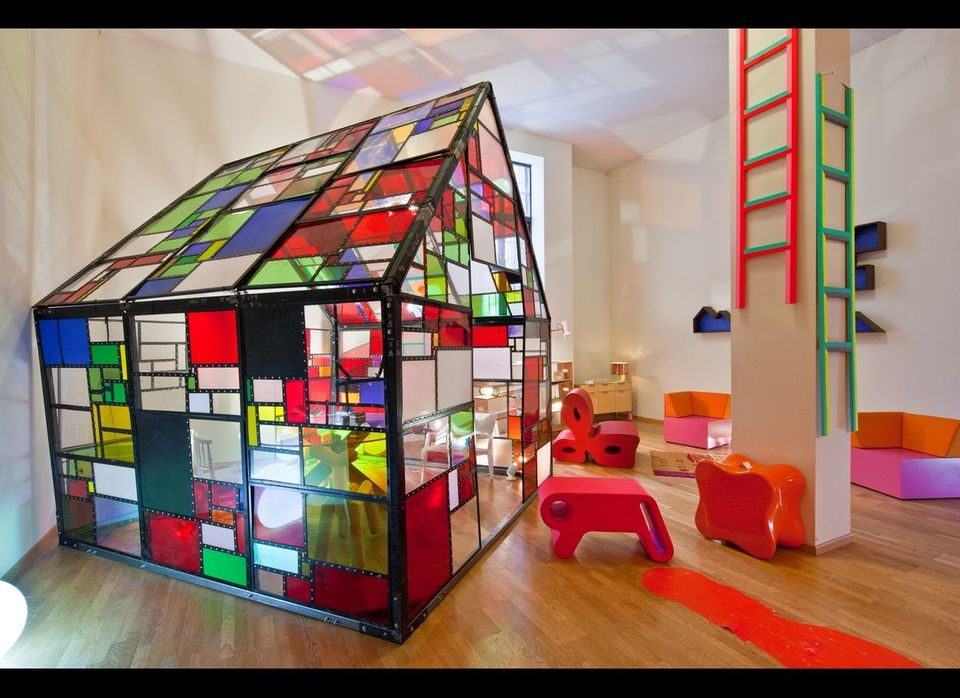 <strong>Play Room:</strong> Studio Vondom BUBBLES light, Tom Fruin MAXIKIOSCO house, [Inside glass house: Mario Bellini (Cass