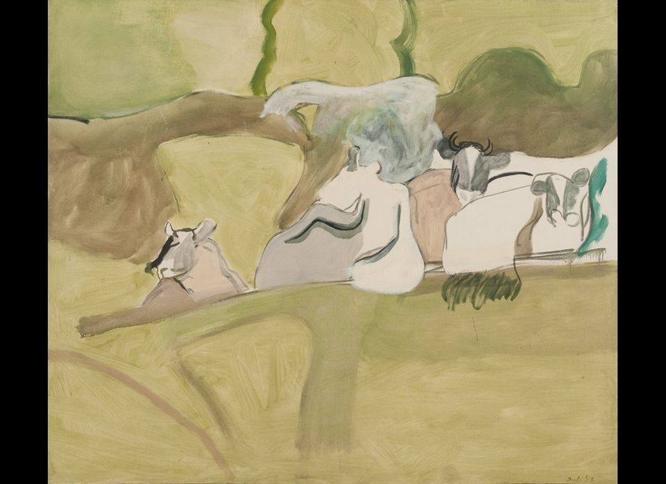 Lois Dodd, Cows in Landscape, 1958; oil on linen, 44 x 51 inches; Courtesy of the artist and Alexandre Gallery, New York, pho