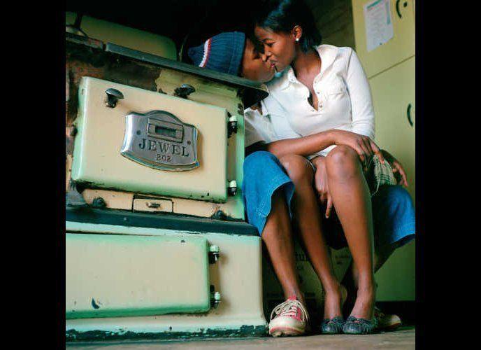 "Katlego Mashiloane and Nosipho Lavuta, Ext. 2, Lakeside, Johannesburg 2007. From the ""Being"" series. Lambda print."
