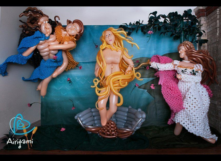 """©Larry Moss (2009); """"The Birth of Venus;"""" balloon sculpture & photo illustration; courtesy:  Airigami (Master Works series);"""