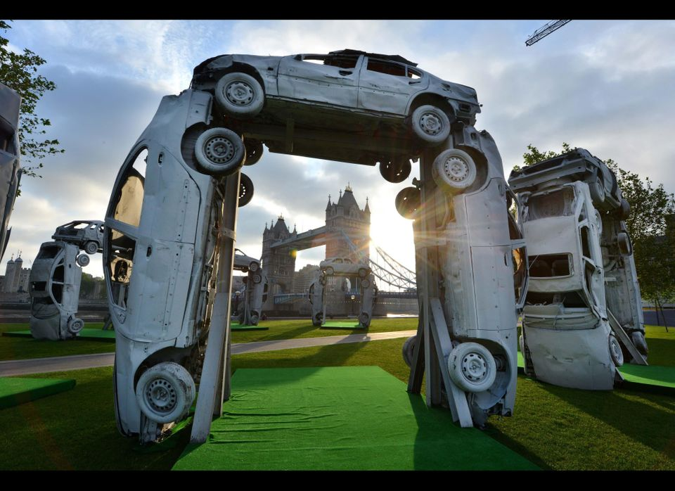 Citihenge, a recreation of Stonehenge made entirely from car parts, after being unveiled on London's Southbank by SKODA to la
