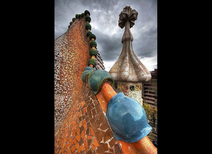 Roof architecture at Casa Batlló.