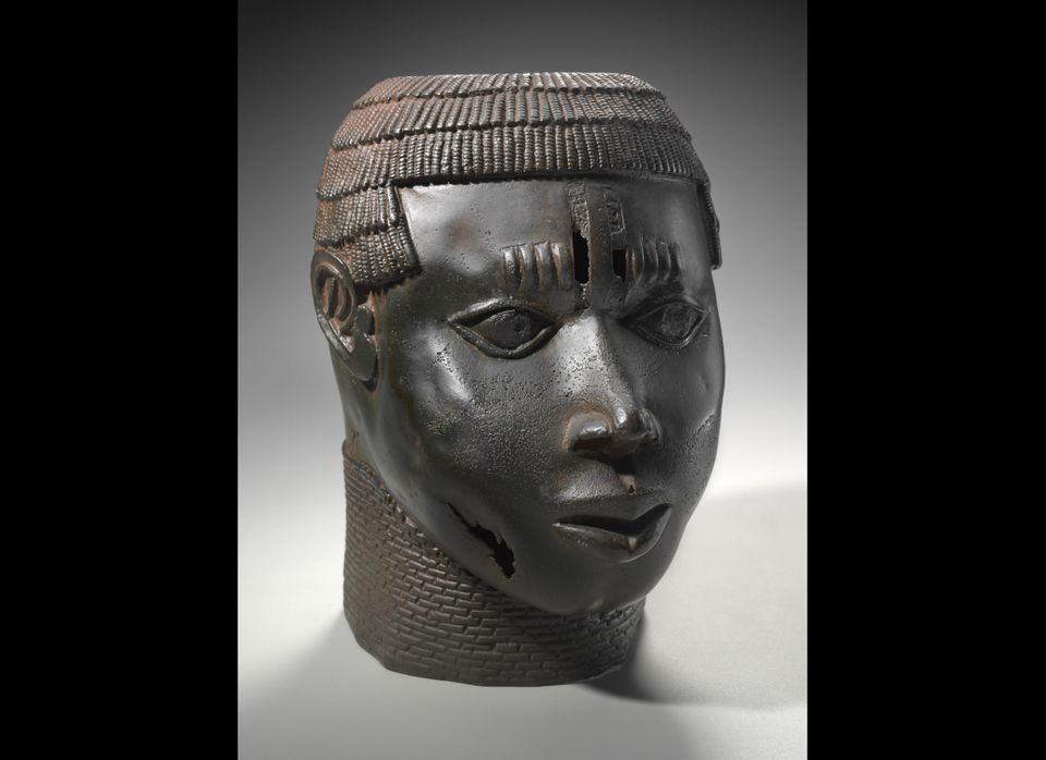 Commemorative head of a defeated neighboring leader Edo peoples, Benin kingdom, Nigeria, late 15th-early 16th century Copper