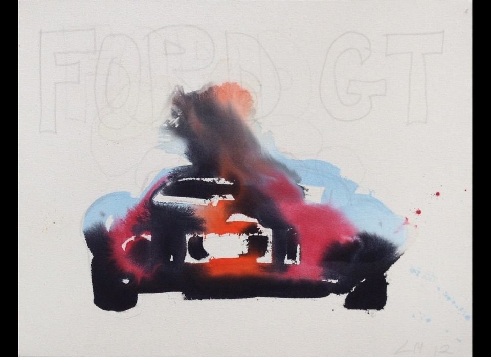 <em></em><em>Ford GT 1</em>, 2012, acrylic and graphite on unprimed canvas, 24 x 36 inches</em>