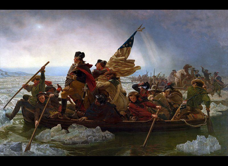 "Artistic depictions of great American battles have become primary to US history, exemplified by ""Washington Crossing the Dele"