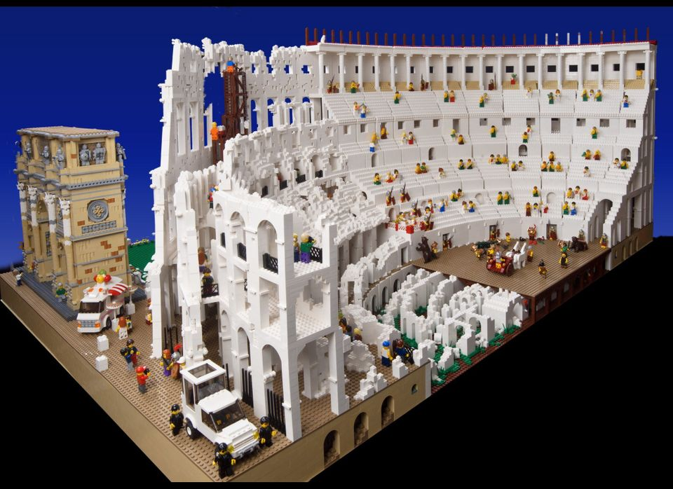 """A 200,000 brick LEGO Colosseum built by Ryan McNaught, AKA """"The Brick Man"""". The structure is split into two time phases - pre"""