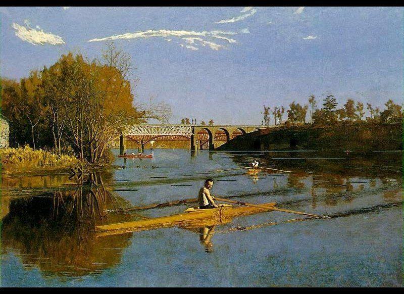 """""""Max Schmitt in a single scull,"""" 1871"""