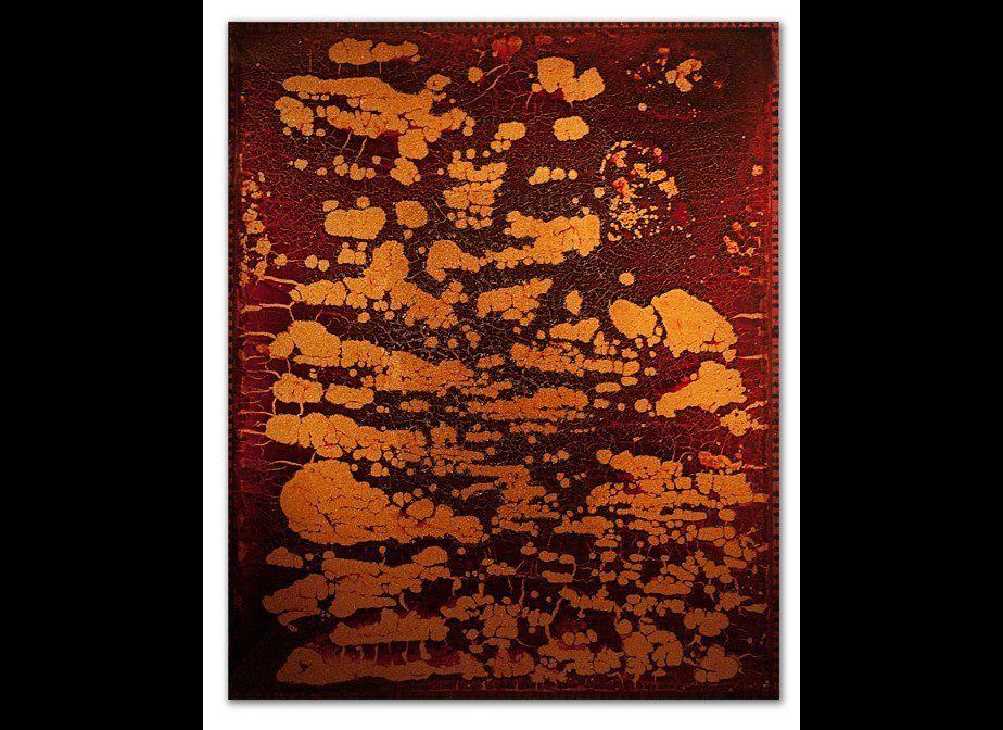 Blood preserved on plexiglas, copper backing, UV resin