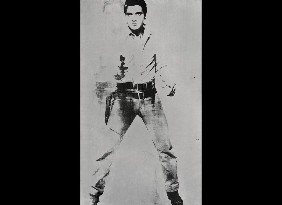 """This undated image, """"Double Elvis,"""" shows Andy Warhol's portrait of Elvis Presley depicted as a cowboy."""